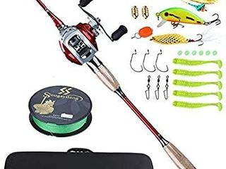 Sougayilang Fishing Baitcaster Combos  lightweight Baitcasting Combo Fishing Rod and Fishing Reel Right left Hand for Travel 4 Pieces Saltwater Freshwater