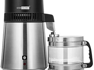 VIVOHOME 4l Brushed 304 Stainless Steel Water Distiller Countertop Distilled Water Machine with an Extra Smart Switch Purifier Filter for Home Office