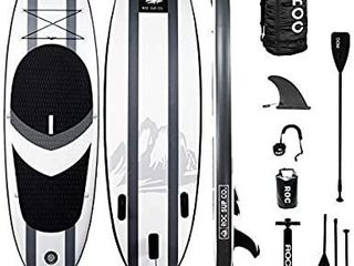 Roc Inflatable Stand Up Paddle Board W Free Premium SUP Accessories   Backpack  Non Slip Deck  Bonus Waterproof Bag  leash  Paddle and Hand Pump