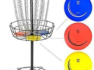 CROWN ME Disc Golf Basket Target Include 3 Discs  24 Chain Portable Metal Golf Goals Baskets