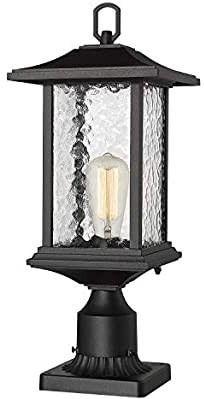 Beionxii Outdoor Post lights   1 Exterior Pillar lantern Pole lamp with 3  inch Pier Mount Base  Sand Textured Black Cast Aluminum with Water Glass  8 W x 20 5 H    A272P 2PK