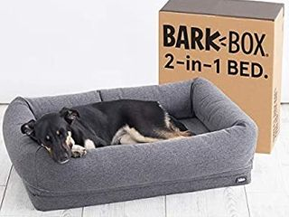 Barkbox 2 in 1 Memory Foam Dog Bolster Bed   High Density 3aa Orthopedic Joint Relief Crate lounger or Donut Pillow Bed  Machine Washable   Removable Cover   Waterproof lining
