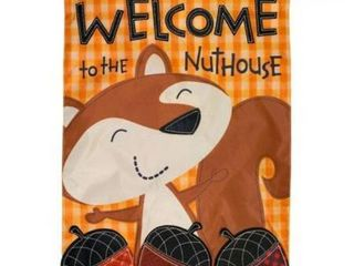 Welcome To The Nuthouse Autumn Applique House Flag Fall Humor 28  x 40