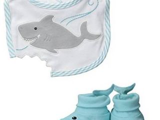 Baby Aspen  Chomp   Stomp Shark Bib and Booties Gift Set  and Bath robe Blue  0 9 Months