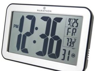 Marathon Watch Company Atomic Self Setting Self Adjusting Wall Clock with Stand