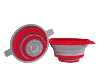 Kitchen Maestro Collapsible Colander and Strainer  Set of 2 Red Collanders for Pasta  Fruits  Vegetables   More   FDA Approved  BPA Free   Dishwasher Safe