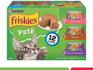 12 Pack  Friskies Pate Wet Cat Food Variety Pack  Salmon  Turkey   Grilled  5 5 oz  Cans