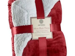 Genteele Super Soft luxurious Sherpa Throw Blanket  60  X 70  Burgundy Red