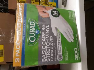 3 Packs Of 100 Curad Basic Care 3g Stretch Vinyl Exam Gloves Medium  Total 300