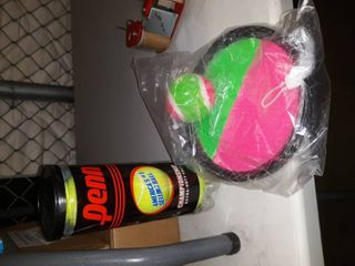 Tennis Ball Bundle  1 package of 3 tennis balls and one paddle ball toss game
