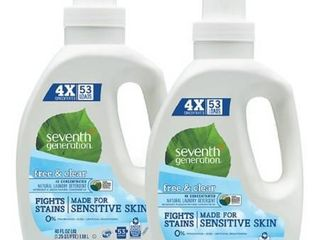 Seventh Generation liquid laundry 4x  Free and Clear  40 Fl Oz  2 Count  Packaging May Vary