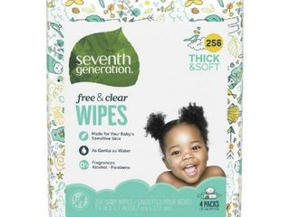 Seventh Generation Free   Clear Baby Wipes  Unscented and Sensitive   4pk 256ct Total