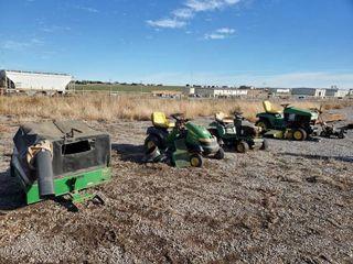 3 John Deere Tractors  leaf Vacuum    Edger