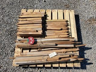 Pallet of misc  wood stakes