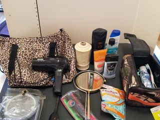 Assorted hygiene items and travel bags