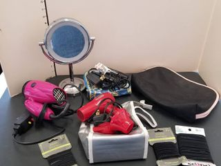 Assorted hair dryers  mirror and travel bags