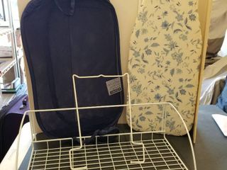 Rack  ironing board and laundry bag