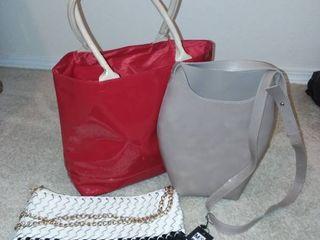 Mad Syle Gray Handbag with Red Tote and Black and White Handbag