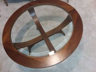 Round Wood and Beveled Glass Top Table 18 x 38 x 38 in