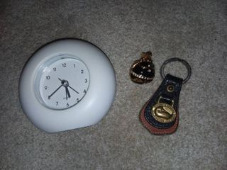 Dooney and Bourke Keychain with Necklace Pendant and Small Desk Clock