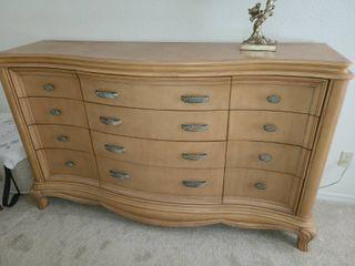 Blonde Wood 12 Drawer Dresser 42 x 72 x 18 in