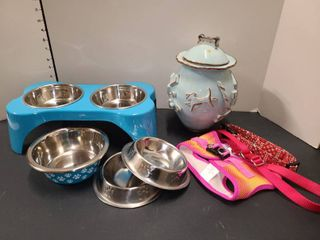 Dog Food Dishes with Collars and Treat Bowl