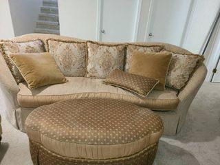 Couch  Ottoman and 8 Pillows  Couch is approximately 36 x 100 x 43 and Ottoman is approximately 18 x 48 x 29
