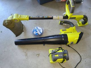 Ryobi Blower with 40 Volt Battery and Charger with 18 Volt lithium Ryobi WeedEater