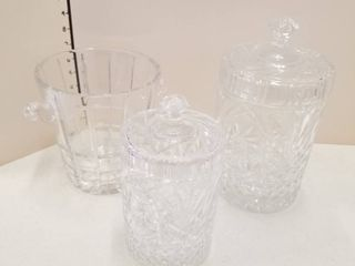 Glass canisters and ice bucket