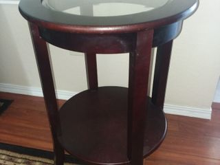 Round Wood and Beveled Glass End Table 26 x 19 x 19 in