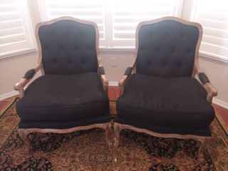Pair of Wood and Black Upholstered Sitting Chairs