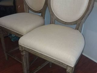 World Market Wood and Creme Upholstered Barstools 45 x 20 x 19 in Each