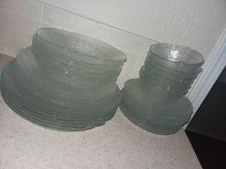 Glass Salad Plates a d Bowls Set of 34 Pieces