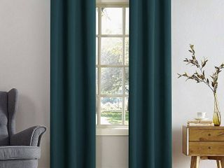 Set of 2 108 x40  Kenneth Energy Saving Blackout Grommet Top Curtain Panel Window Teal   Sun Zero
