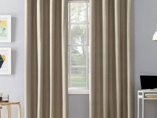 Set of 2 84 x50  Duran Thermal Insulated Total Blackout Grommet Top Curtain Panel Beige   Sun Zero