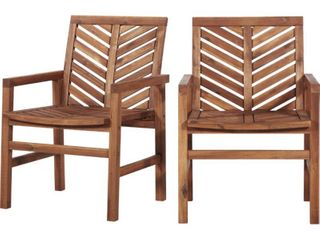 Outdoor Wood Patio Chairs   Set of 2   Brown