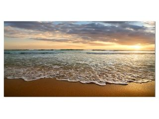 Bright Cloudy Sunset in Calm Ocean   Contemporary Seascape Art Canvas  Retail 211 99