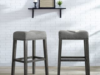 Roundhill CoCo Upholstered Backless Saddle Seat Bar Stools 29  height Set of 2  Gray