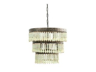 3 Tier Round Metal Chandelier with 3 lights   Hanging Wood Beads  Retail 345 98