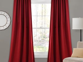84 x52  Insulated Back Tab Blackout Window Curtain Panels Red   lush Decor
