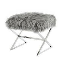 Molly Grey Faux Fur Ottoman   Stainless Steel Chrome X legs Upholstered living Room  Entryway  Bedroom  Retail  194 99
