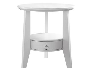 Monarch Accent Table 23 Dia   White With 1 Drawer