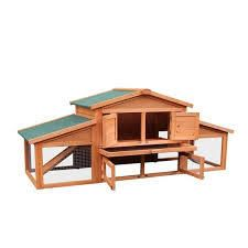 leisure Zone 70 Inch Outdoor Pet House Cage for Small Animals with 2 Run Play Area   Natural  Retail 231 99