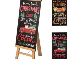 Glitzhome 32 H Duble Sided Wooden Porch Sign with Changable Fall Christmas Sign Board