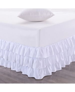 King Sweet Home Collection Waterfall 3 layer Ruffled King Bedskirt Bedding