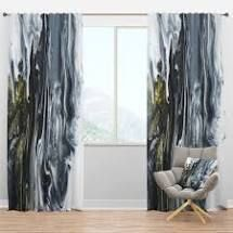 Designart  White  grey and White Hand Painted Marble Acrylic  Mid Century Modern Curtain Panel  Retail 96 99