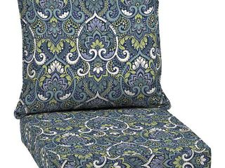 Aurora Damask Deep Seat Outdoor Cushion Set Sapphire   Arden Selections