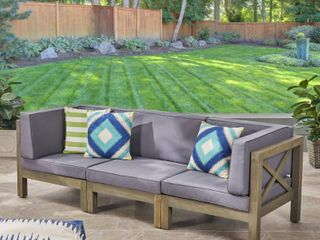 INCOMPlETE Brava Outdoor 3 Seater Sectional Acacia Wood Sofa Set with Water Resistant Cushions by Christopher Knight Home  Retail 736 49