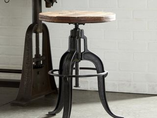17  x 29  Industrial Style Adjustable Round Metal   Teak Wood Stool with Foot Stand by Studio 350  Retail 269 99