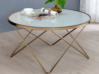 Acme Furniture Valora Gold tone Frosted Glass Metal Coffee End Table  Retail 149 99